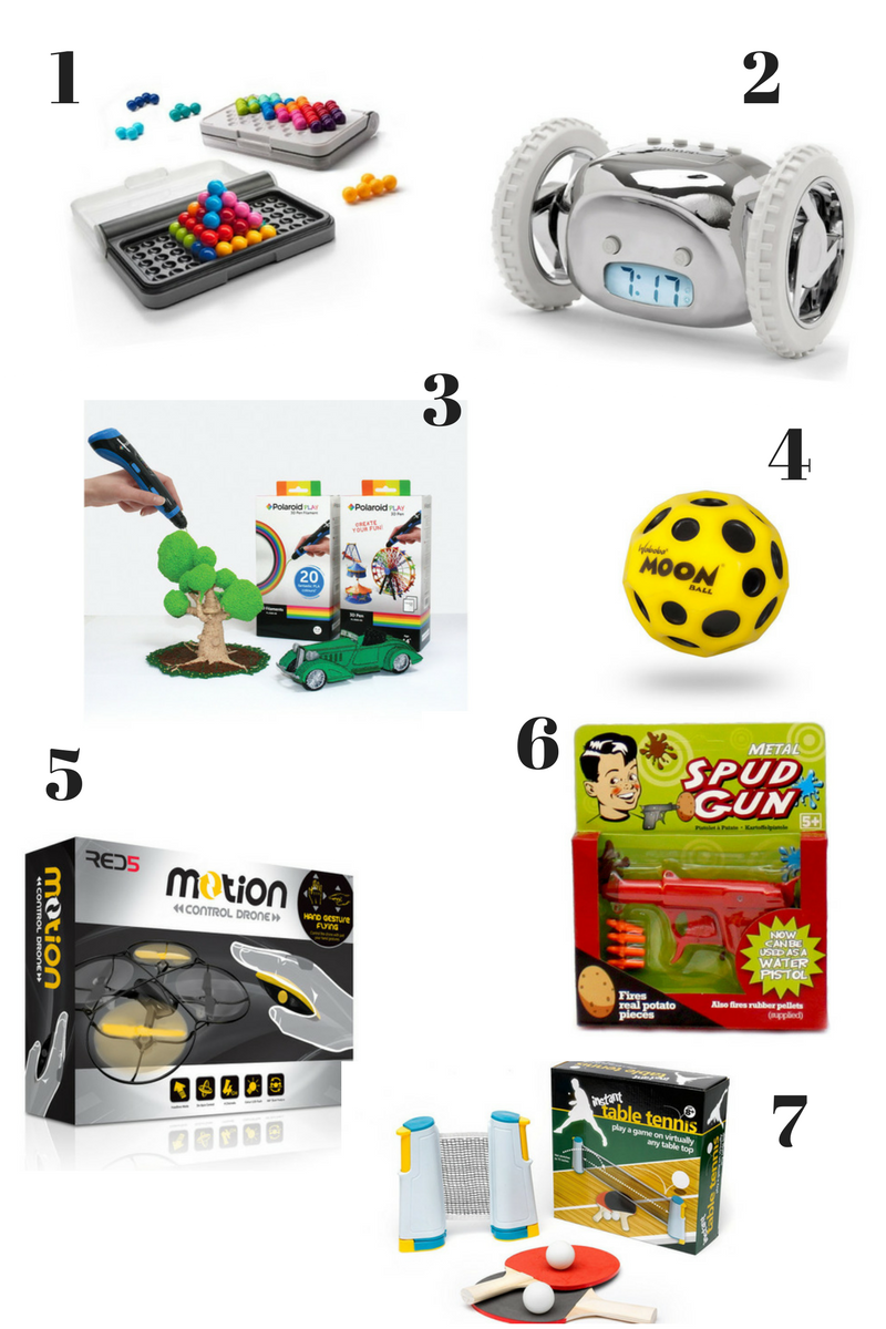 Wicked Uncle toys, spud gun, drone, alarm clock, yellow bouncy ball, tree built using a 3d pen, IQ puzzle. table tennis set
