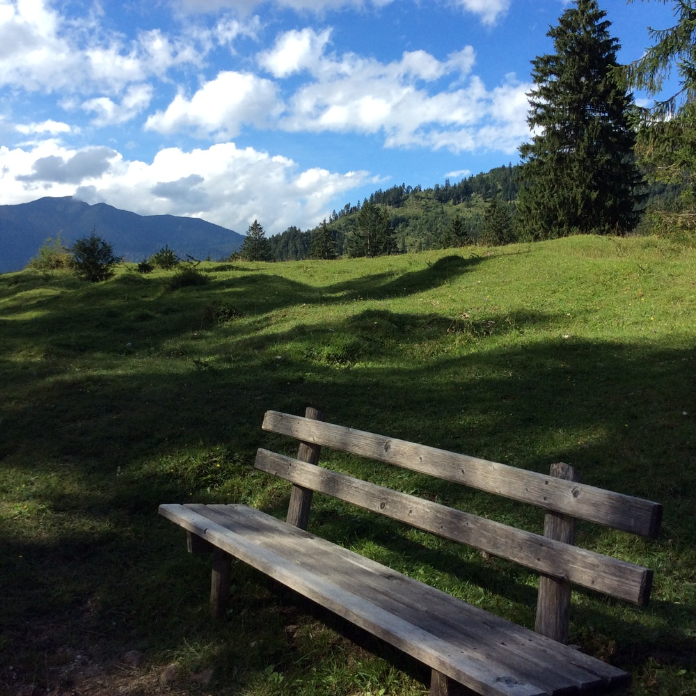 We live in Bavaria and one of the things I love most is that natural beauty of the area.  This bench is always calling to me!
