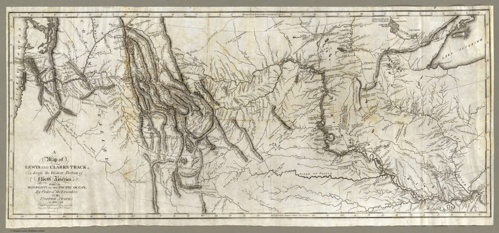 Map of Lewis and Clark's Track, Across the Western Portion of North America. From the  David Rumsey Map Collection Database and Blog .