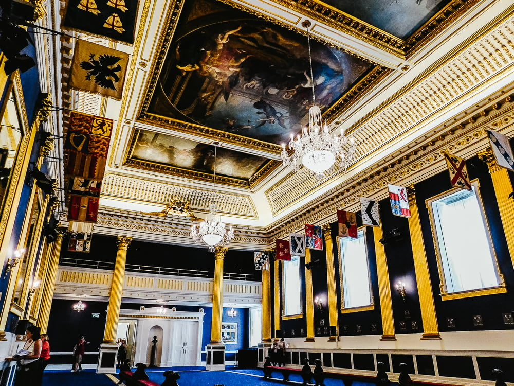 Magnificent Saint Patrick's Hall in Dublin Castle, a must-see castle in Dublin, Ireland