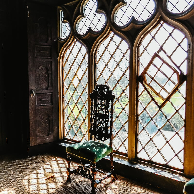 Window in the Oak Room, Malahide Castle, located around Dublin, Ireland