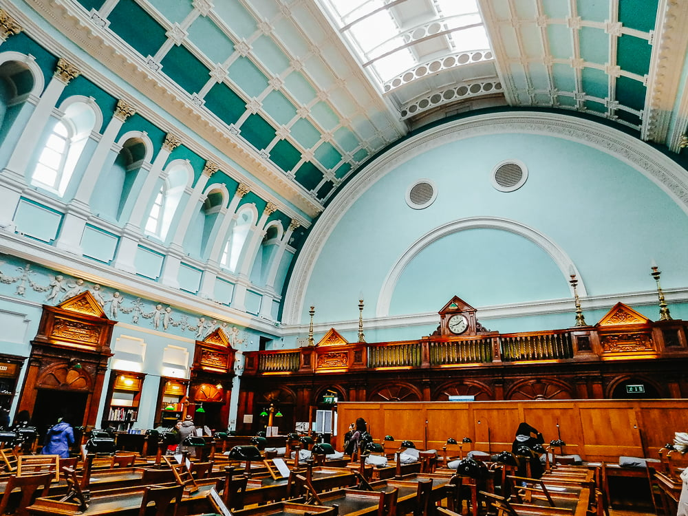The Reading Room in the National Library of Ireland, an amazing library to visit in Dublin, Ireland