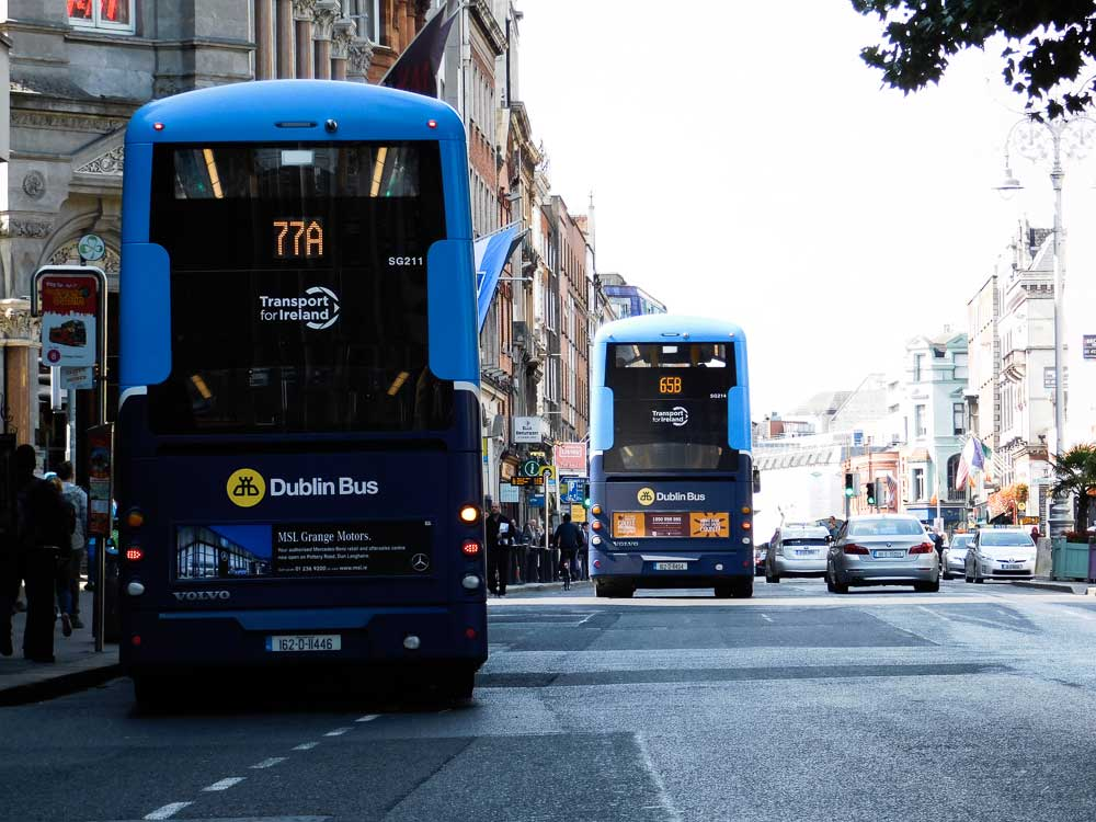 Buses in Dublin city centre, Ireland