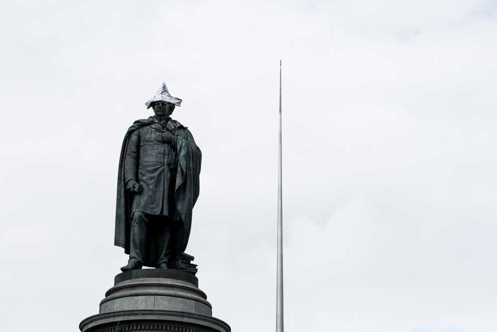 Statue and the Spire on O'Connell Street, Dublin, Ireland