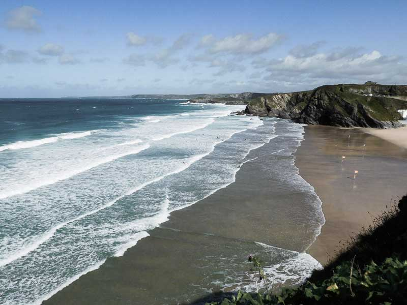 View of Tolcarne Beach, Newquay, Cornwall.