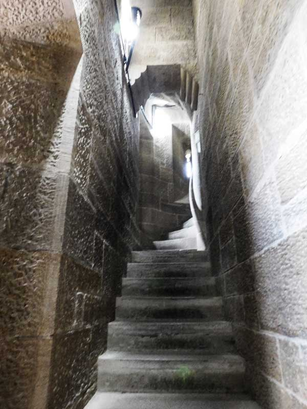 The narrow staircase leading to the top of the National Wallace Monument, dedicated to William Wallace and his victory at the Battle of Stirling Bridge