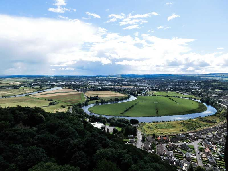 View over the Battlefield, Battle of Stirling Bridge, from the National Wallace Monument, Stirling, Scotland