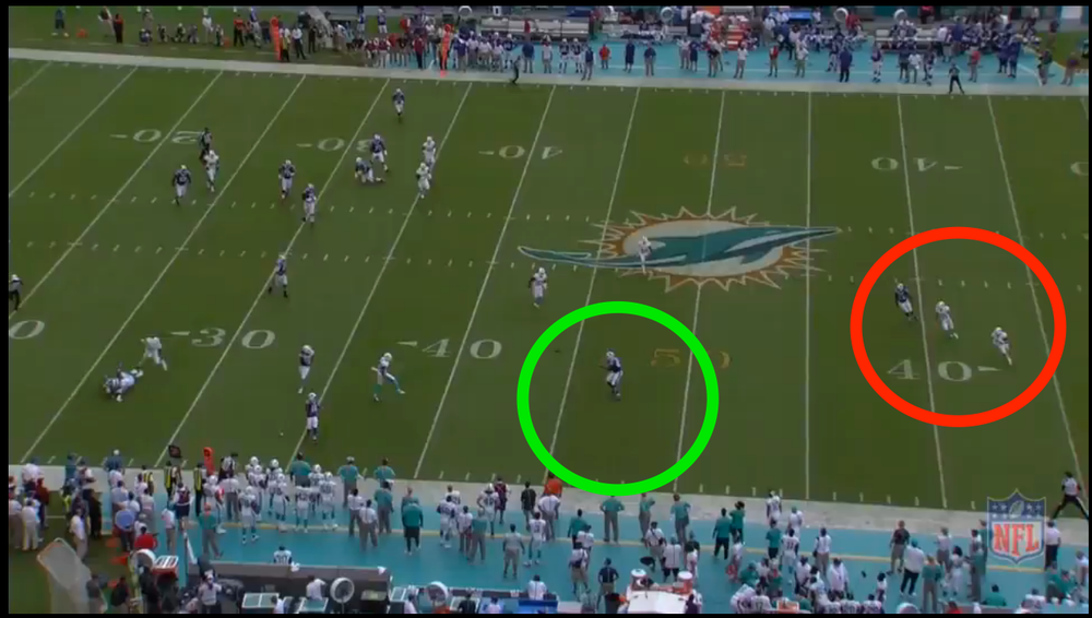 Taylor calmly drops the pass into a wide open Clay who catches in and gets up the sideline for a gain of 24 yds.