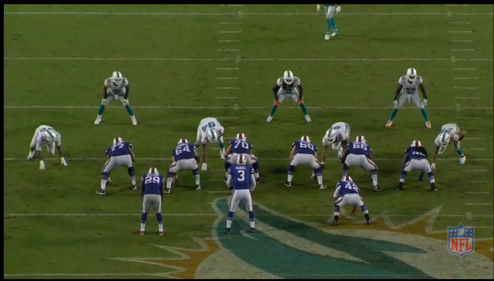 Fins are in a base 4-3 defense. Urbik is in the game at RG for Miller. Suh is lined up in the playside B gap.