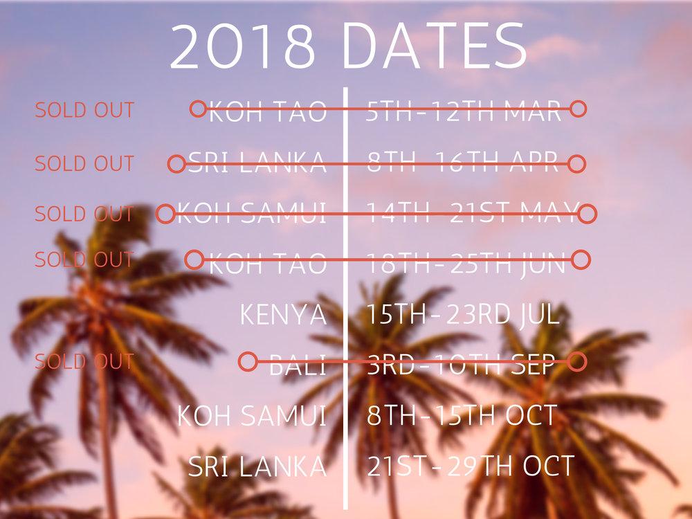 active escapes schedule 2018