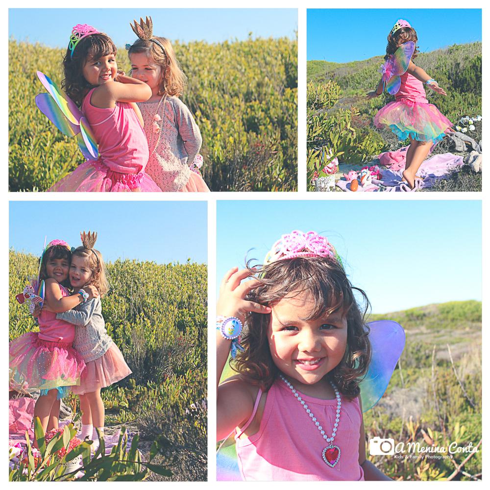 Conjunto borboleta multicolor (saia tutu + asas) e bandolete dourada com coroaH&M- Camisola cinza com renda rosa Zara- Saia tutu rosa Next Direct.