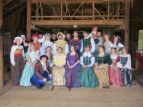 The Cast of the May 2013 Production,  Love's Labour's Lost  displayed brightly colored and vibrant costumes adding many layers to this comedy.