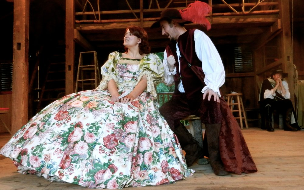 Becca Lease as Roxanne and Calvin Emery as Christian in the 2015 production of Cyrano de Bergerac.