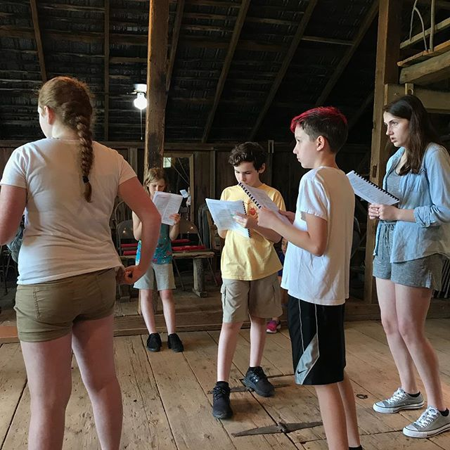 Today we got to be at the barn and work with costumes and blocking in our production space. #comedyoferrors #summercamp