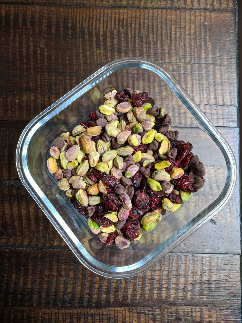 Homemade trail mix with pistachios, dried cranberries, and dark chocolate!