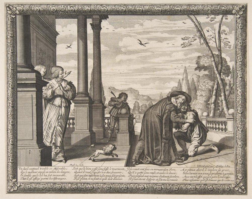 """L'Histoire de l'enfant prodigue, Jean I Leblond, French, ca. 1636, Paris. Etching; sheet, 10 1/4"""" x 12 15/16"""", prints. Photo courtesy of the Metropolitan Museum of Art."""