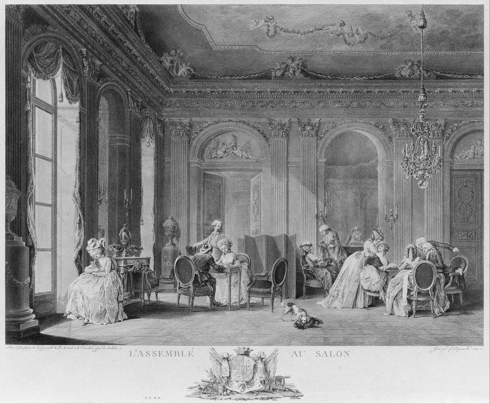 """L'Assemblee au Salon, François Nicolas Barthélemy Dequevauviller, French, Abbeville 1745-1807 Paris. Sheet, 16 1/8"""" x 19 3/4,"""" print. Photo courtesy of the Metropolitan Museum of Art."""