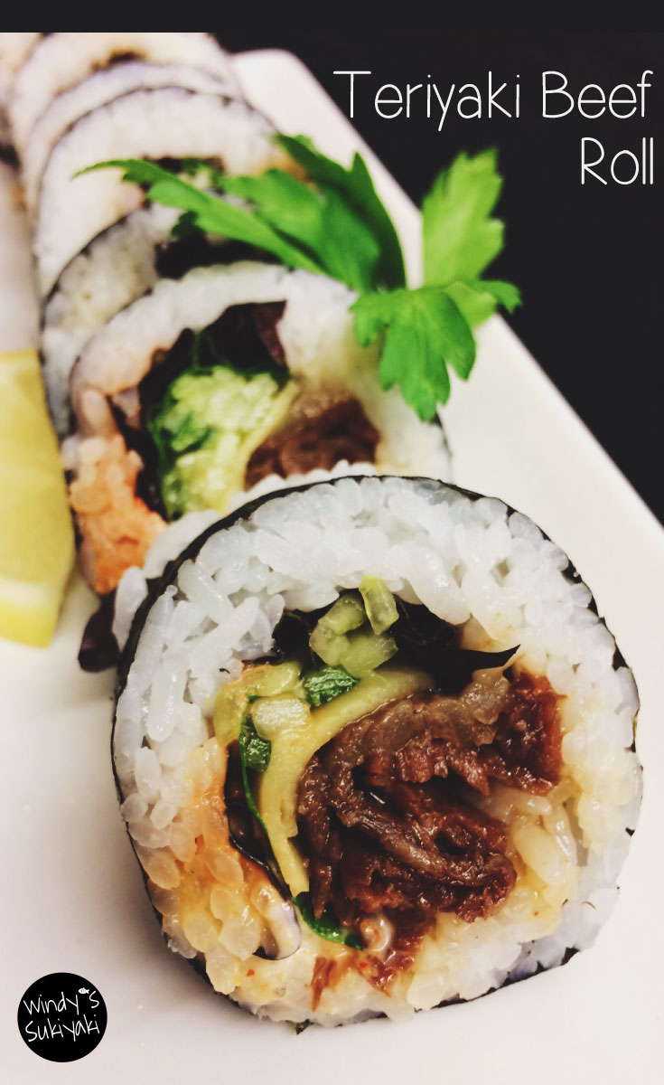 Beef in sushi rolls? It's very tasty!! Beef Teriyaki Roll for non-raw-fish customers!