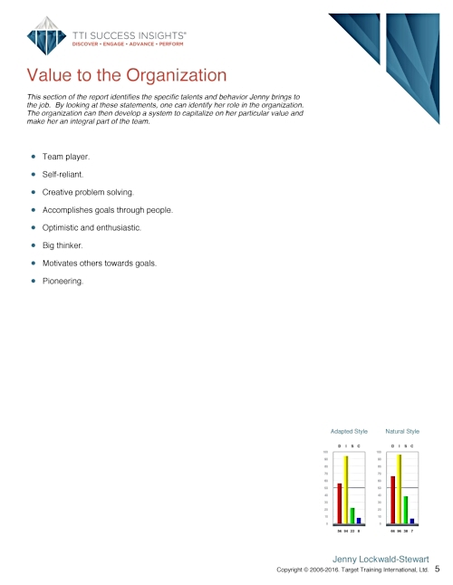 Report Contents - Individual reports include things like:General Characteristics; Value to the Organization; Checklist for Communicating; Communication Tips; Ideal Environment; Perceptions of Others; Descriptors; Keys to Motivating: and Area For Improvement