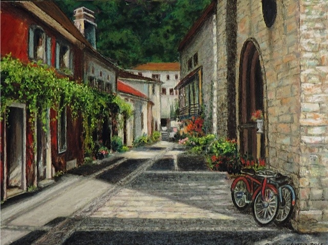 """STREET SCENE"", L'EVEQUE, FRANCE Pastel Cheri GInsburg © PRIVATE COLLECTION"