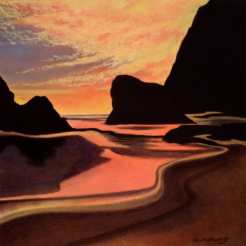 """twilight reflections"", oregon shore  PanPaste® Cheri GInsburg ©"