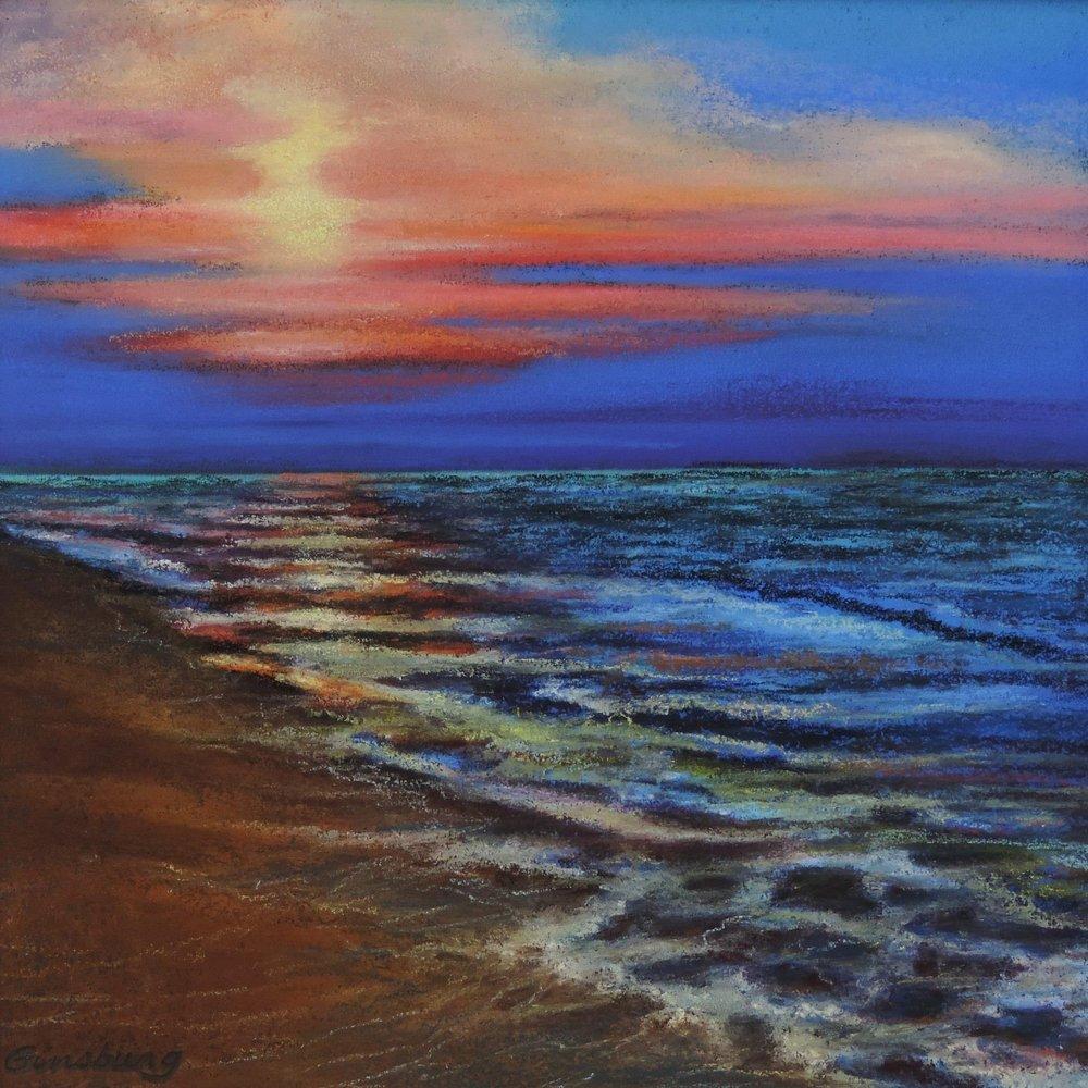 """""""costa rican sunset, costa rica Pastel Cheri GInsburg ©"""
