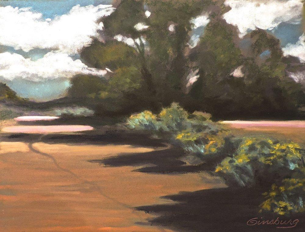"""shadows of the arroyo"", museum hill, Santa Fe, New Mexico  Plein Air  PanPastel® Cheri GInsburg ©"