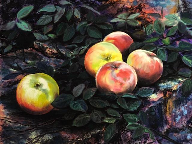 """APPLES OF TUSCANY"", DIEVOLE,TUSCANY, ITALY  Pastel Cheri GInsburg ©"