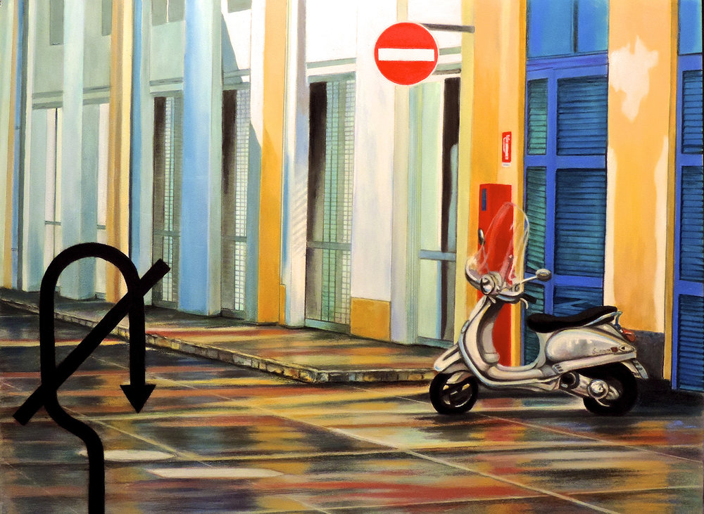 """NO U TURN"", MILAN, ITALY  Pan Pastel® Cheri GInsburg ©  AWARD OF DISTINCTION. ASSOCIATION OF NEBRASKA ART CLUBS (ANAC).TRAVELING EXHIBITION. 2015 - 2016"