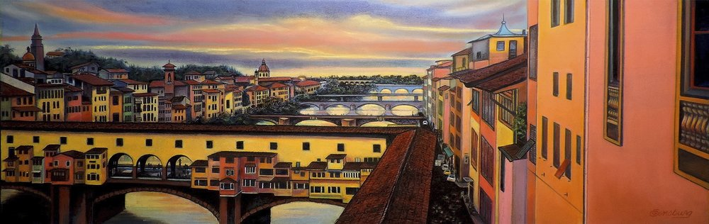 """six bridges of florence"", florence (fierenze), Italy, view from the uffizi  Pastel Cheri GInsburg ©  PRIVATE COLLECTION  JURIED SELECTION- 27TH INTERNATIONAL ASSOCIATION OF PASTEL SOCIETIES EXHIBITION. 2015  JURIED SELECTION- ""HeART OF ITALY "" EXHIBIITON, ITALIAN-AMERICAN MUSEUM. New York CITY. JULY 2017"