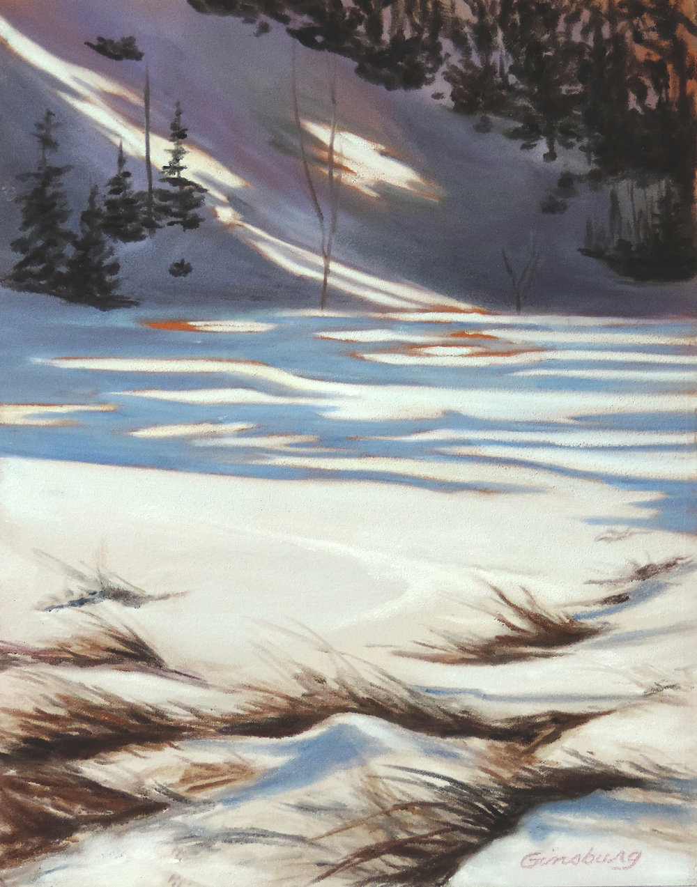 """winter elegance"", conifer, colorado  Plein Air  PanPastel® Cheri GInsburg ©"