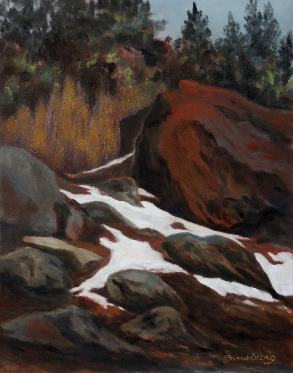 """winter thaw"", conifer, colorado  Plein Air  PanPastel® Cheri GInsburg ©"