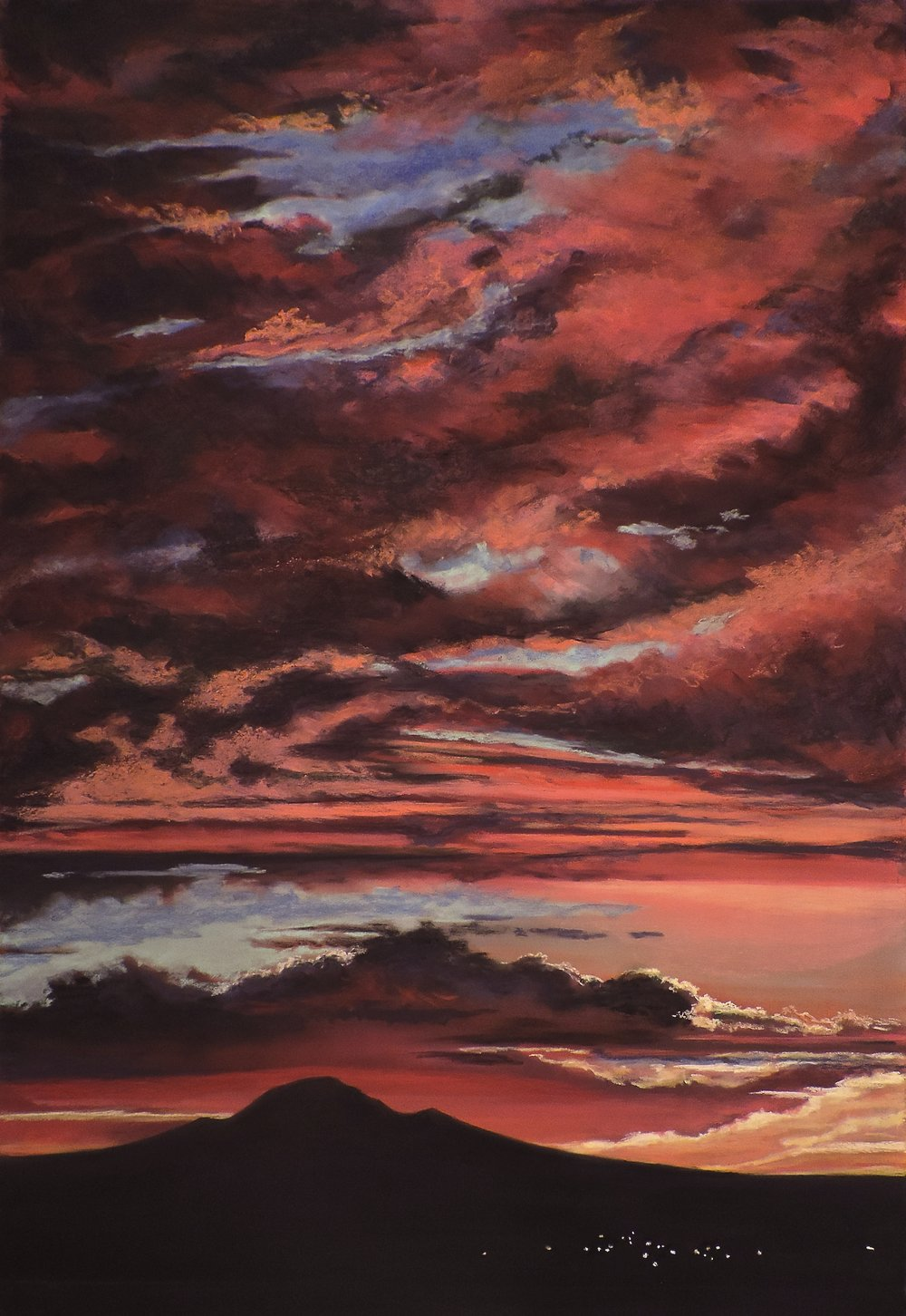 """Albuquerque Fire In the sky""  Albuquerque, NM  Pan Pastel® and traditional pastel  24 x 36  Cheri GInsburg ©"
