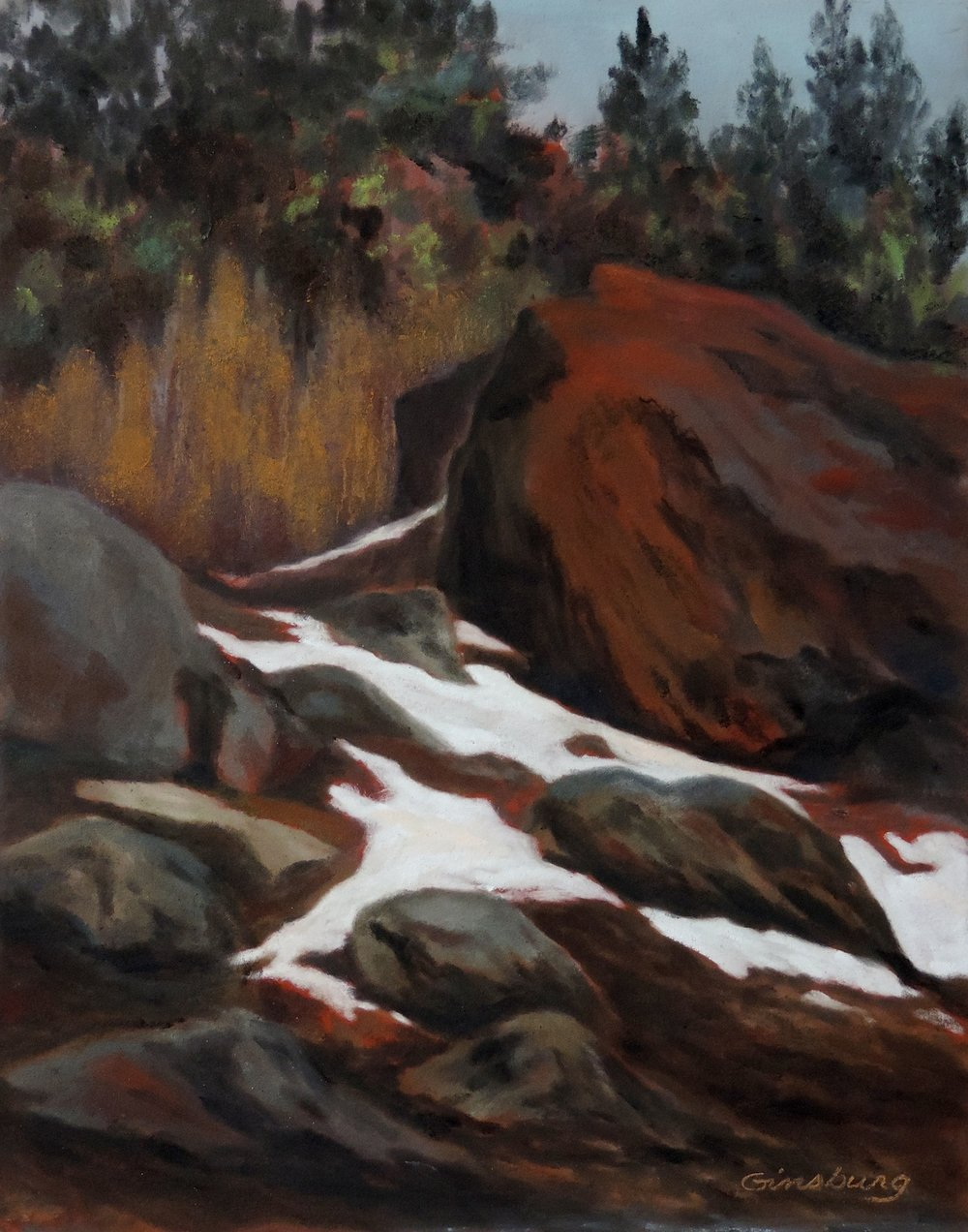 """WINTER THAW"", CONIFER, COLORADO  Pan Pastel® Cheri GInsburg ©"
