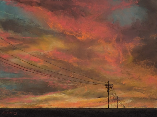 """NEBRASKA SUNSET"" Pastel Cheri GInsburg © SOLD"