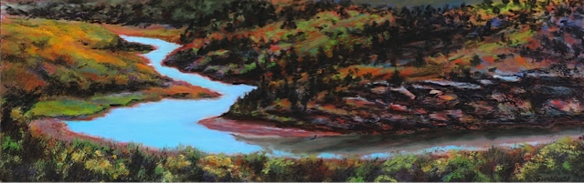 """RIBBON OF THE RIO CHAMA"", NEAR ABIQUIU, New Mexico Pastel Cheri GInsburg ©"
