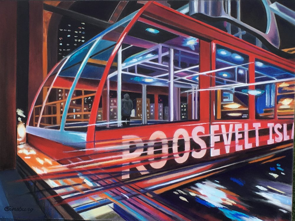 """Night reflections, roosevelt island tram station"", New York city  PanPastel® Cheri GInsburg ©"