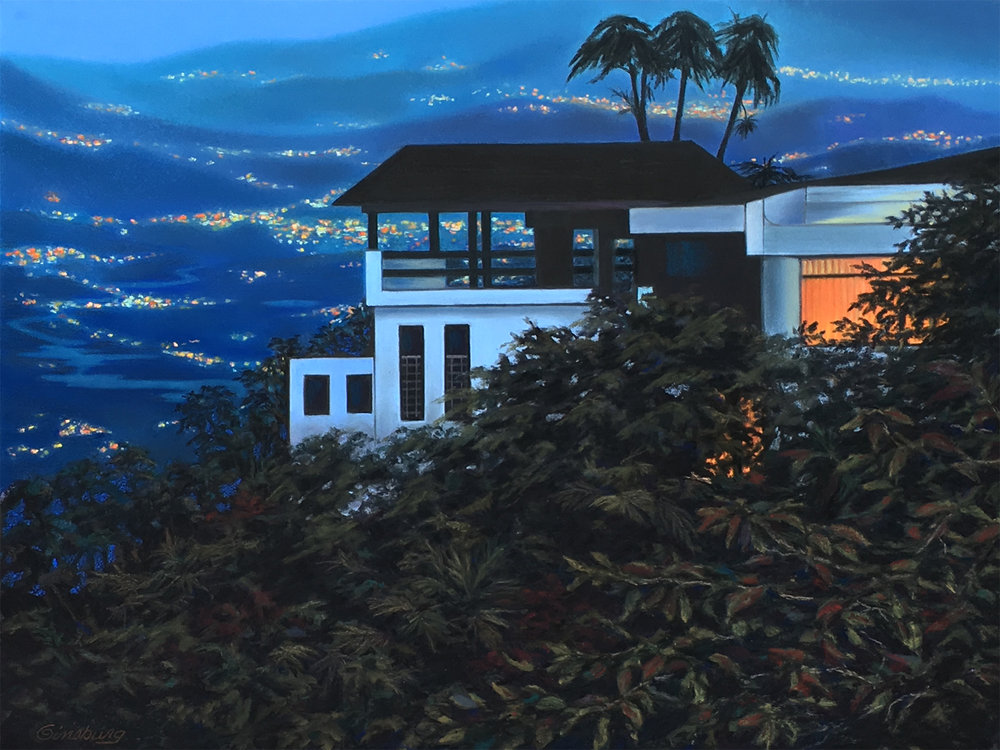 """night falls in Costa Rica"", near atenas, Costa Rica  PanPastel® Cheri GInsburg ©   SOLD"