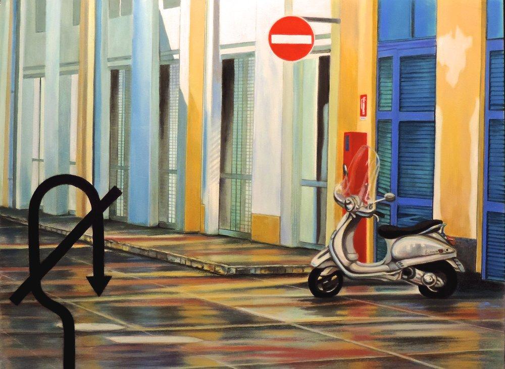 """""""NO U TURN"""", MILAN ITALY  PanPastel® Cheri GInsburg ©"""