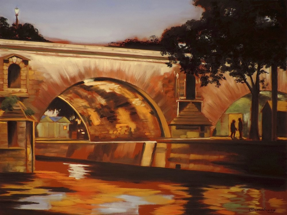"""secret rendezvous"", pont st. marie, paris, france  PanPastel®  Cheri Ginsburg ©  Displayed by PanPastel® at the International Association of Pastel Societies Biennial Convention, Albuquerque, NM, 2015"