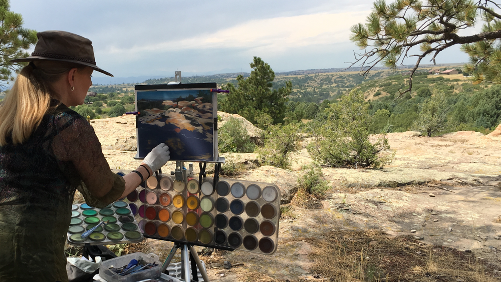 Cheri Ginsburg plein air painting with PanPastel®, near Parker, Colorado.