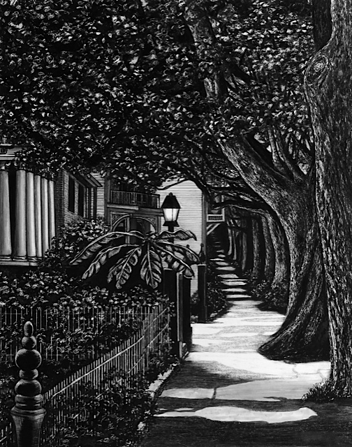 """evening stroll"", garden district, New Orleans, louisiana Pen and Ink Cheri GInsburg ©"
