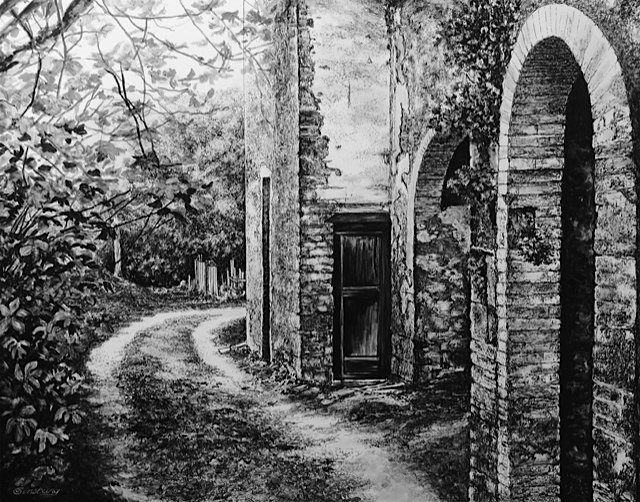 """tuscan farmhouse"", near vagliogli, italy Pen and Ink Cheri GInsburg ©"