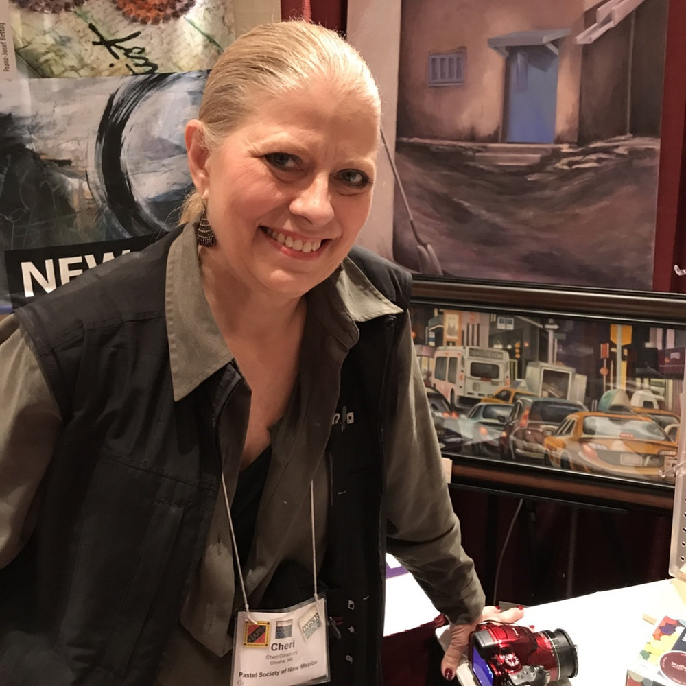 Cheri Ginsburg at IAPS (The International Association of Pastel Societies) 12th Biennial Convention, where Pan Pastel® displayed three of Ginsburg's PanPastel® paintings to demonstrate the versatility of PanPastel® products.      June 2017.