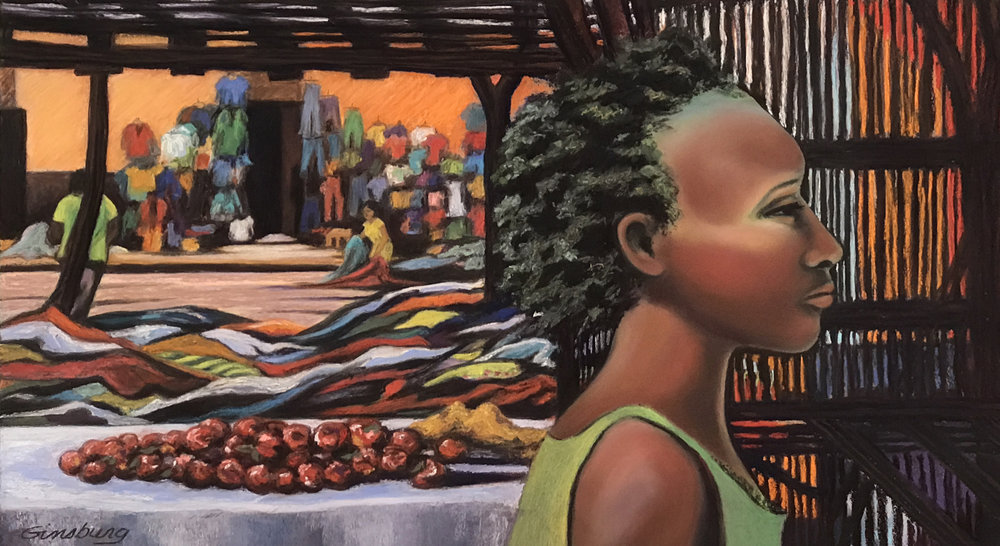 """Zambian Beauty"" 12"" x 24"" Pastel"
