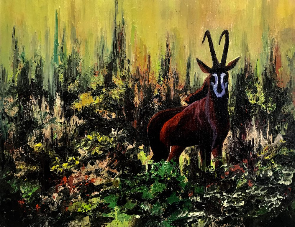 """AFRICAN SABLE""  11 X 14  OIL  Cheri GInsburg ©"