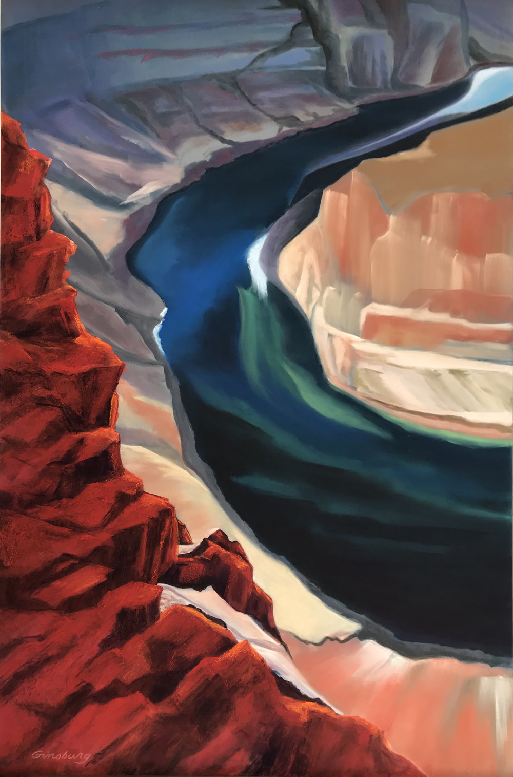Jewel Of The Canyon  Horshoe Canyon, Arizona  24 x 36  PanPastel and Terry Ludwig Pastels on Ampersand Pastelbord  Cheri Ginsburg©