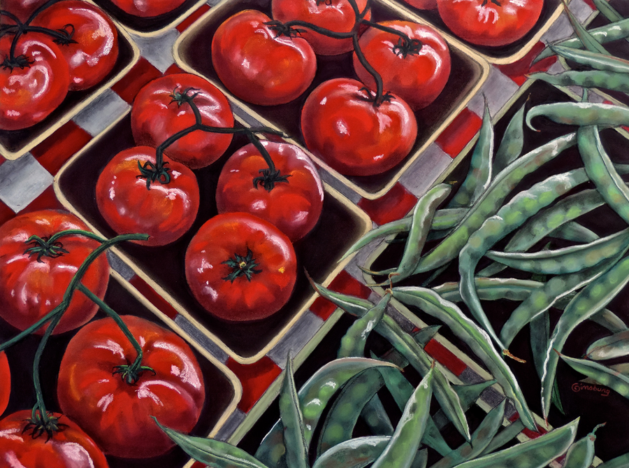 """Tomatoes And Green Beans"" by Cheri Ginsburg©  Juried Selection / (ANAC) Association of Nebraska Art Clubs"