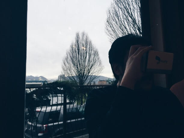 Our friend E. using the Tourly headset (inspired by Google Cardboard) to explore a virtual reality immersive real estate tour on the Tourly android app. This was the most  Bladerunner filter I could find on VSCO.