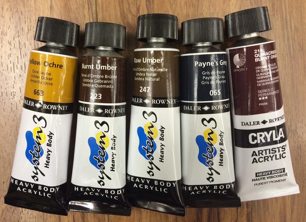 Daler Rowney | Heavy Body Acrylic : Yellow Ochre, Burnt Umber, Raw Umber, Payne's Grey, Quinacridone Burnt Orange (CRYLA - Artists' Quality)